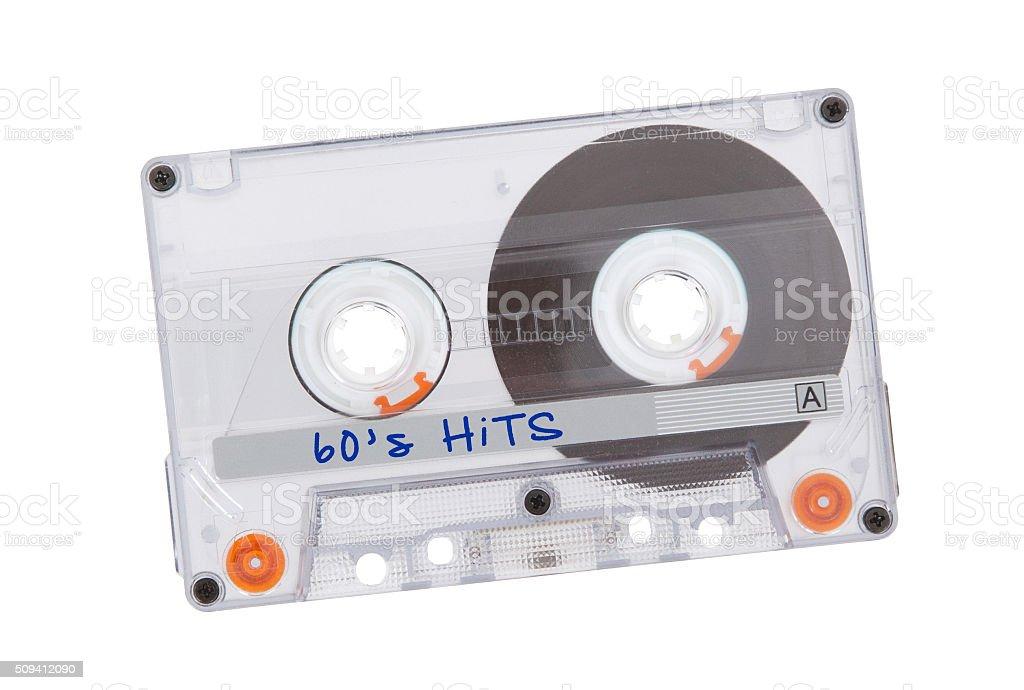 Vintage audio cassette tape, isolated on white background stock photo