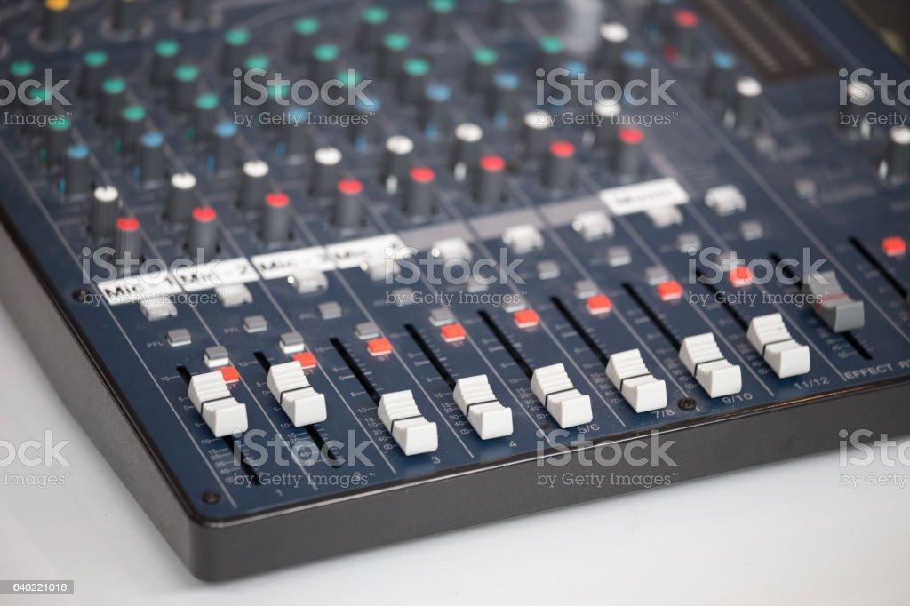 vintage audio mixing console bord stock photo