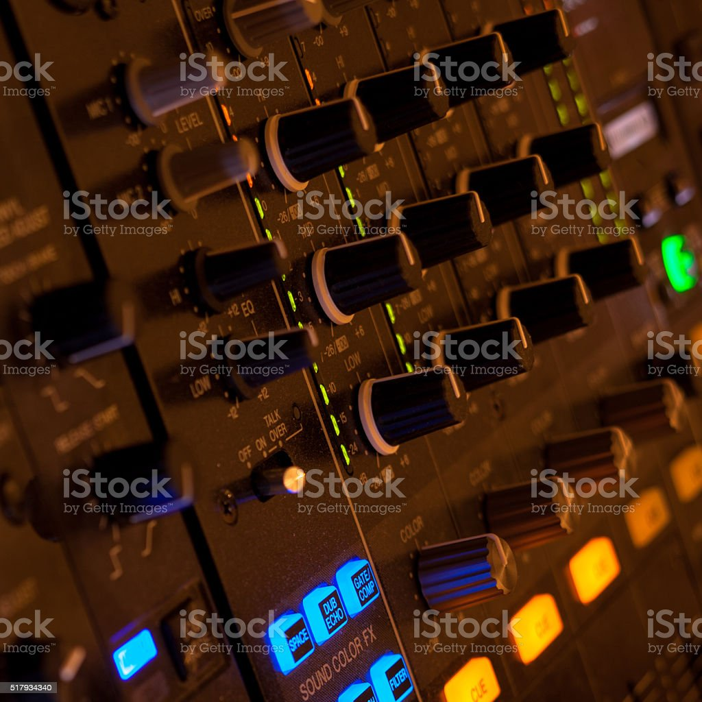 Vintage audio recording device knobs and controls stock photo