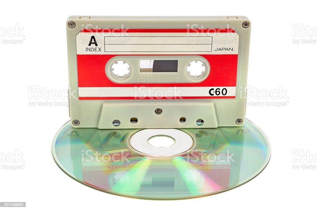 Vintage audio tape on CD stock photo