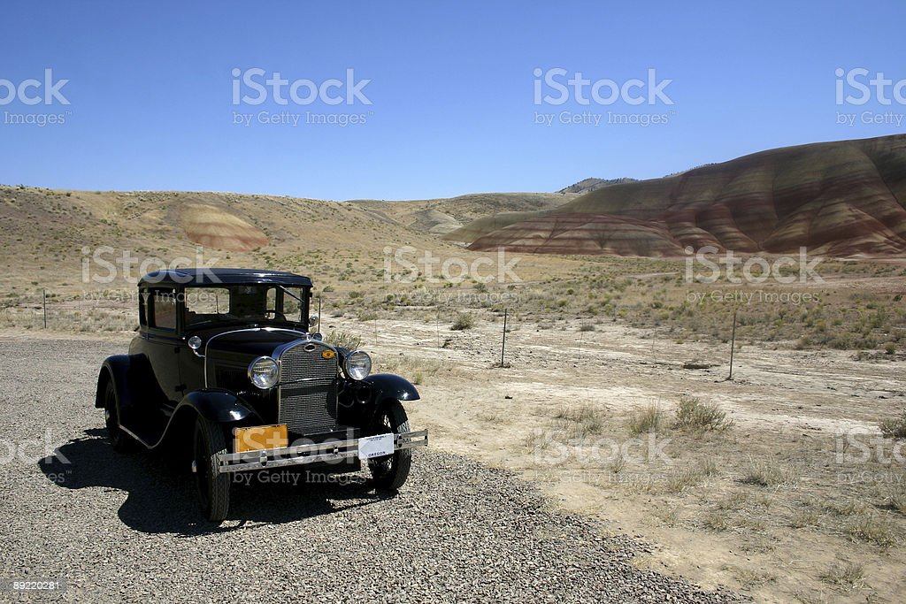Vintage Automobile at the Painted Hills in Oregon stock photo