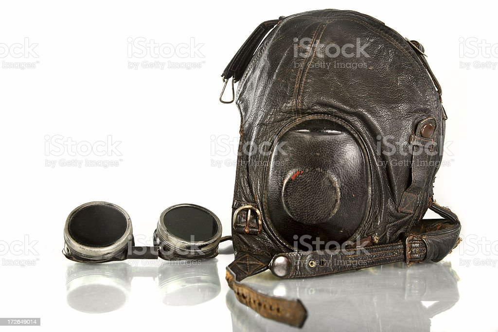 Vintage aviator hat and glasses stock photo