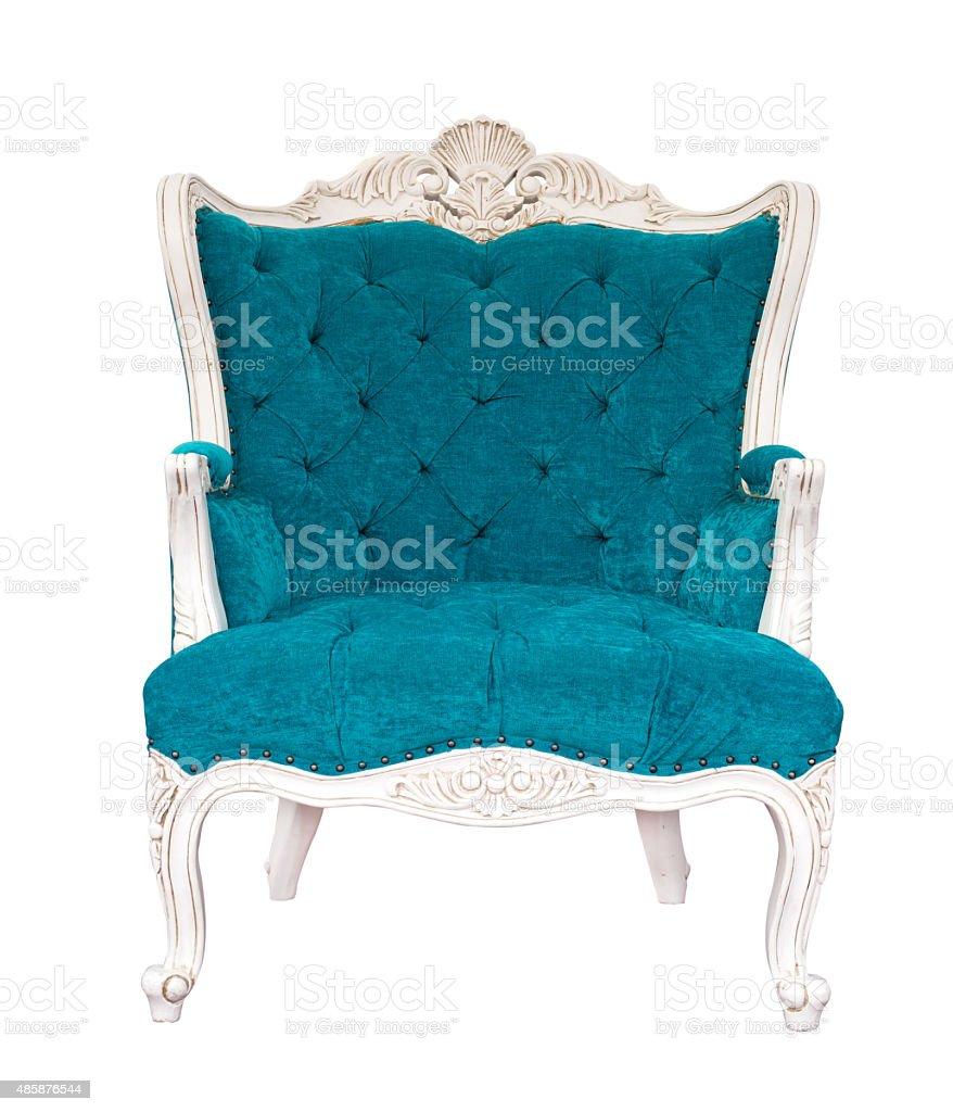 vintage azure armchair stock photo