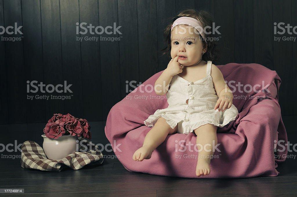 Vintage baby girl stock photo