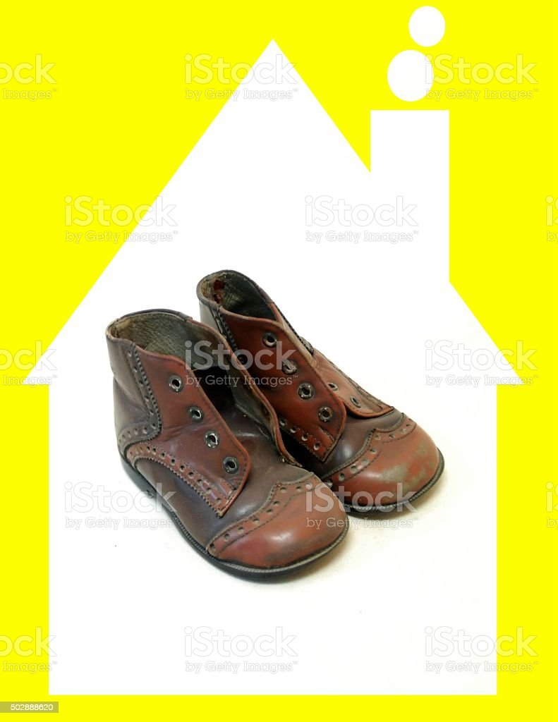 Vintage baby shoes from 1975 stock photo
