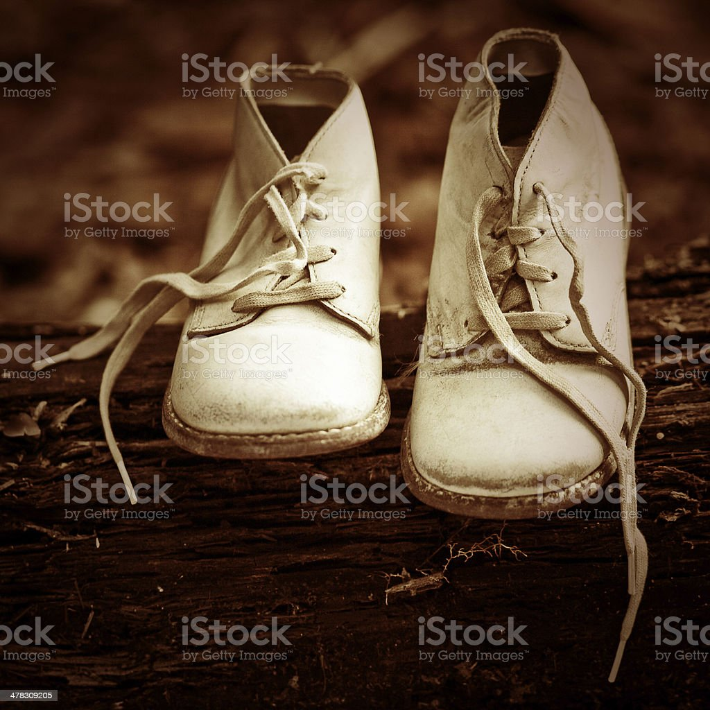 vintage baby shoes stock photo