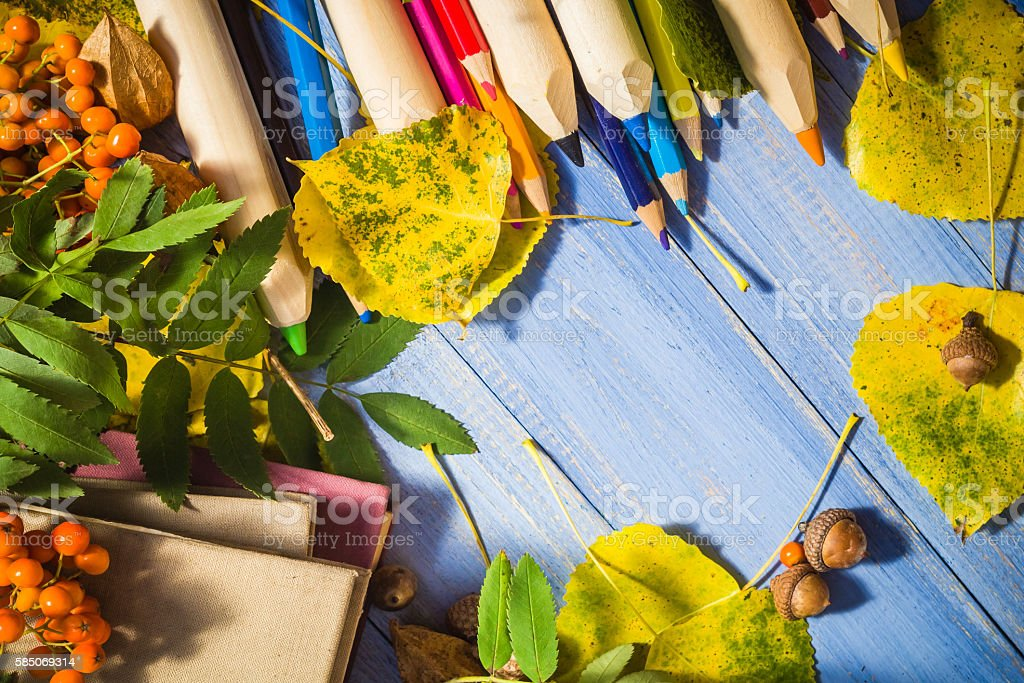 Vintage background Concept autumn back school stock photo