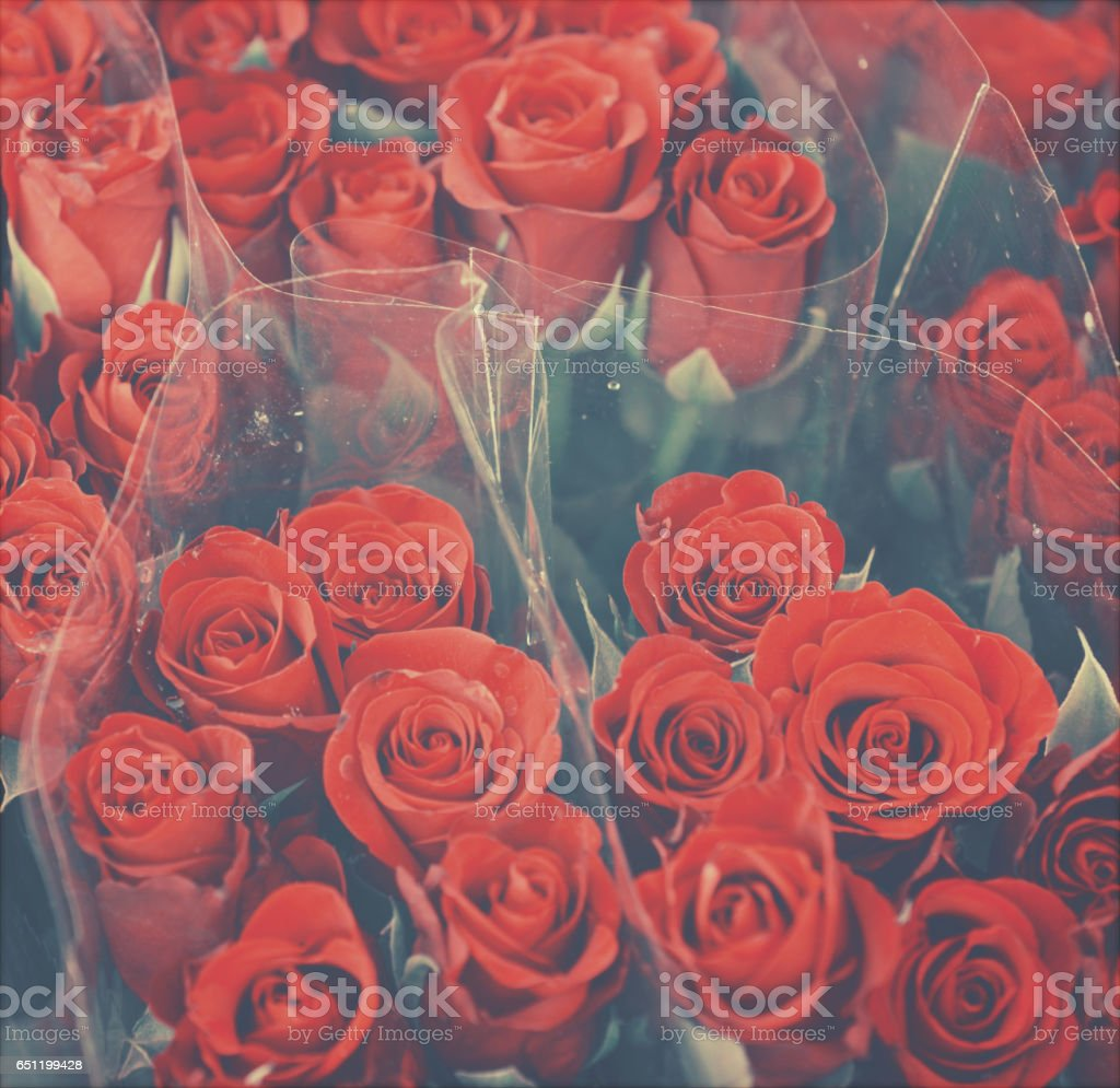 Vintage background of roses in bouquet stock photo