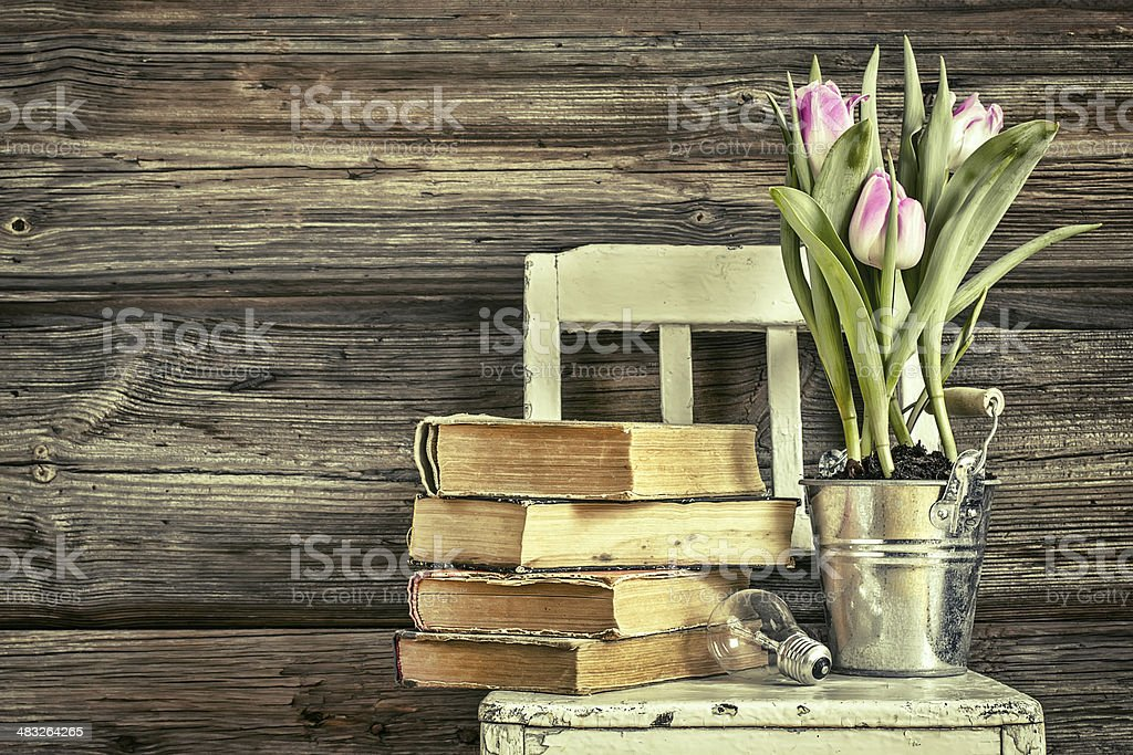 Vintage background with books, flowers, chair and bulb stock photo