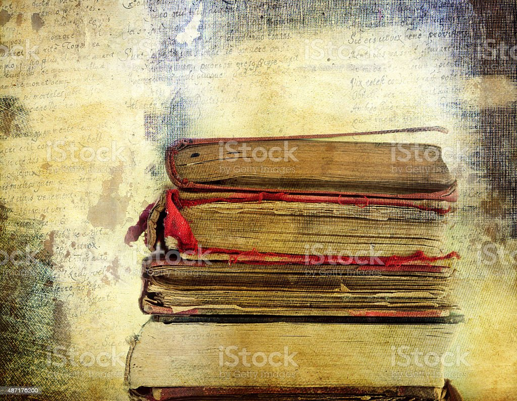 Vintage background with old books. Back to school stock photo
