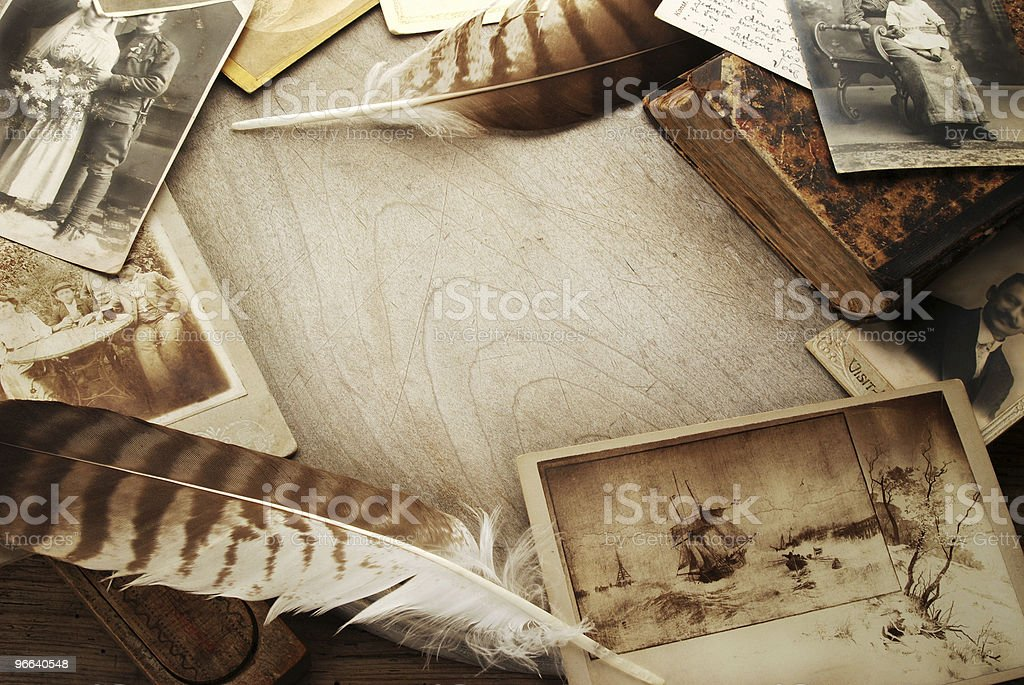 Vintage background with old pictures royalty-free stock photo