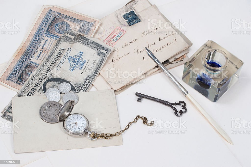 Vintage background with old pocket watch stock photo