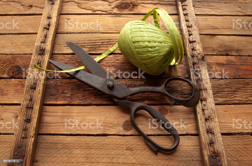 Vintage Background with sewing tools stock photo