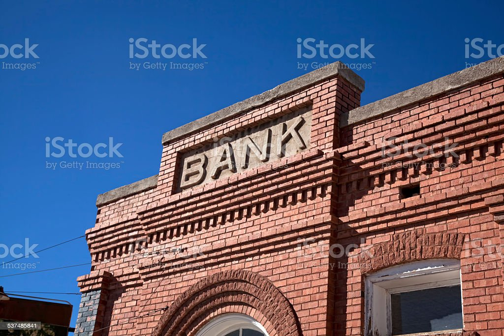 Vintage Bank Building and Sign stock photo