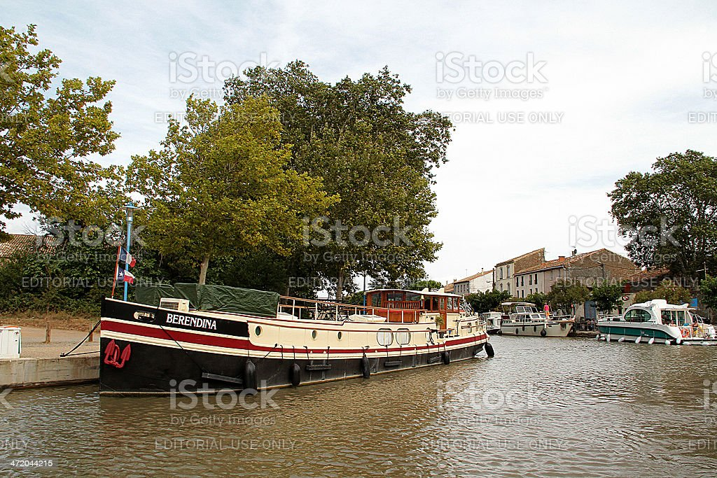 Vintage Chiatta in Canal du Midi, Francia foto stock royalty-free