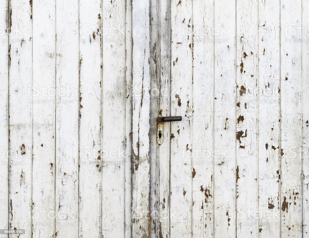 Vintage Barn Door with Exfoliating White Gloss Paint – Foto