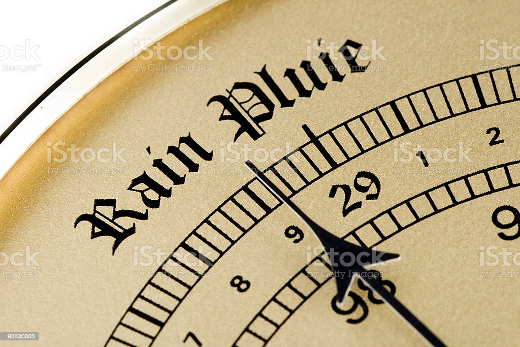 vintage barometer forecasting rain stock photo