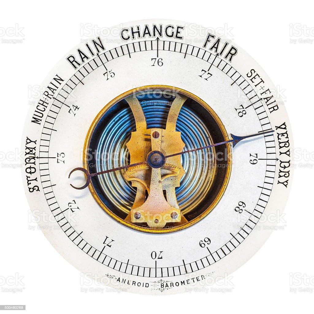 Vintage barometer isolated on white stock photo