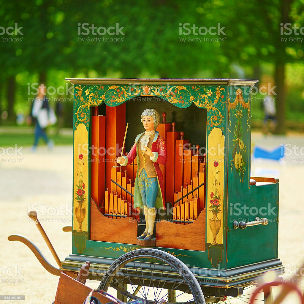 Vintage barrel organ stock photo