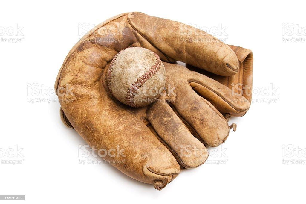 Vintage Baseball and Glove stock photo