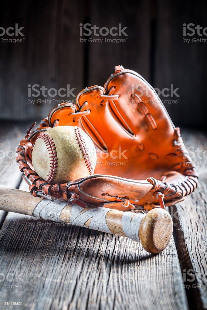 Vintage Baseball glove and ball.