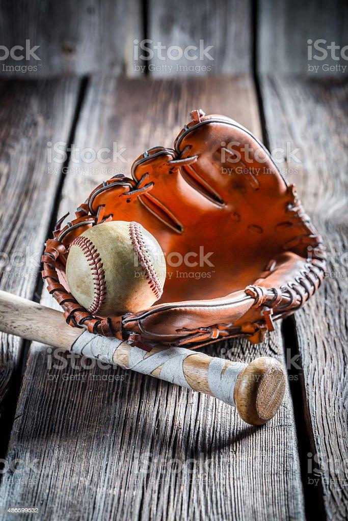 Vintage baseball glove and old ball stock photo