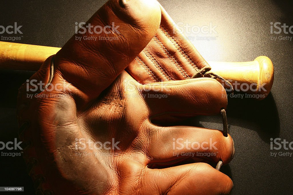 Vintage baseball glove & bat #2 stock photo