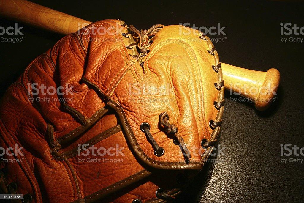 Vintage baseball glove & bat #4 royalty-free stock photo