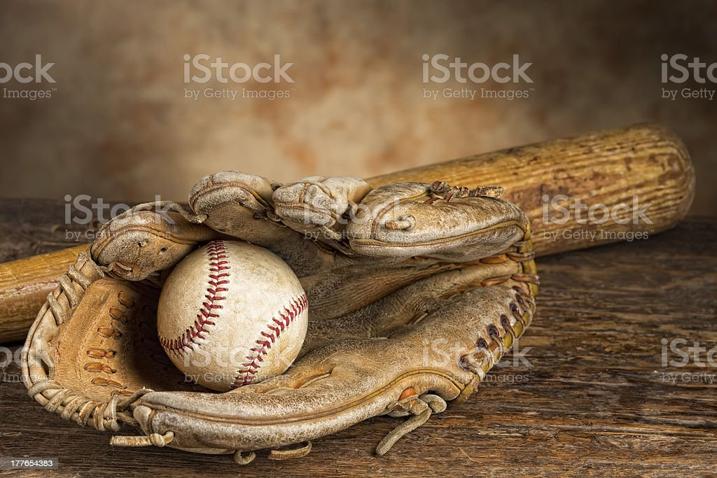 Vintage baseball memories stock photo