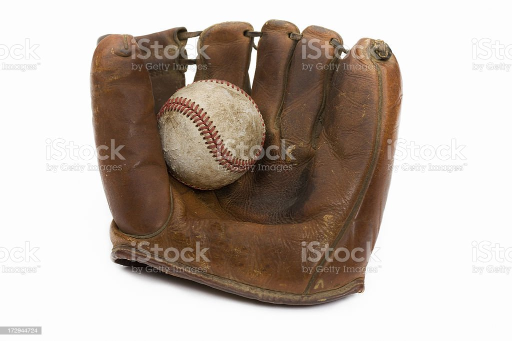 vintage baseball mitt stock photo