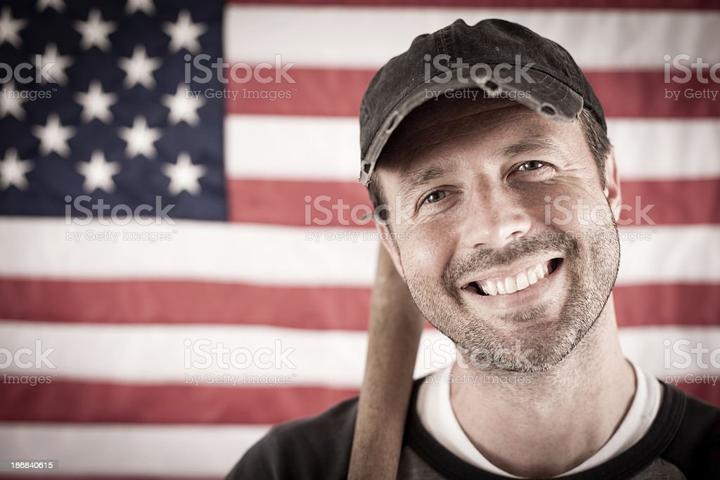 Vintage Baseball Player in Batting Stance, With American Flag Background royalty-free stock photo
