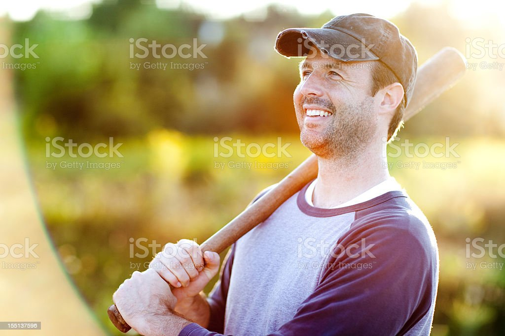 Vintage Baseball Player in Batting Stance with Bat stock photo