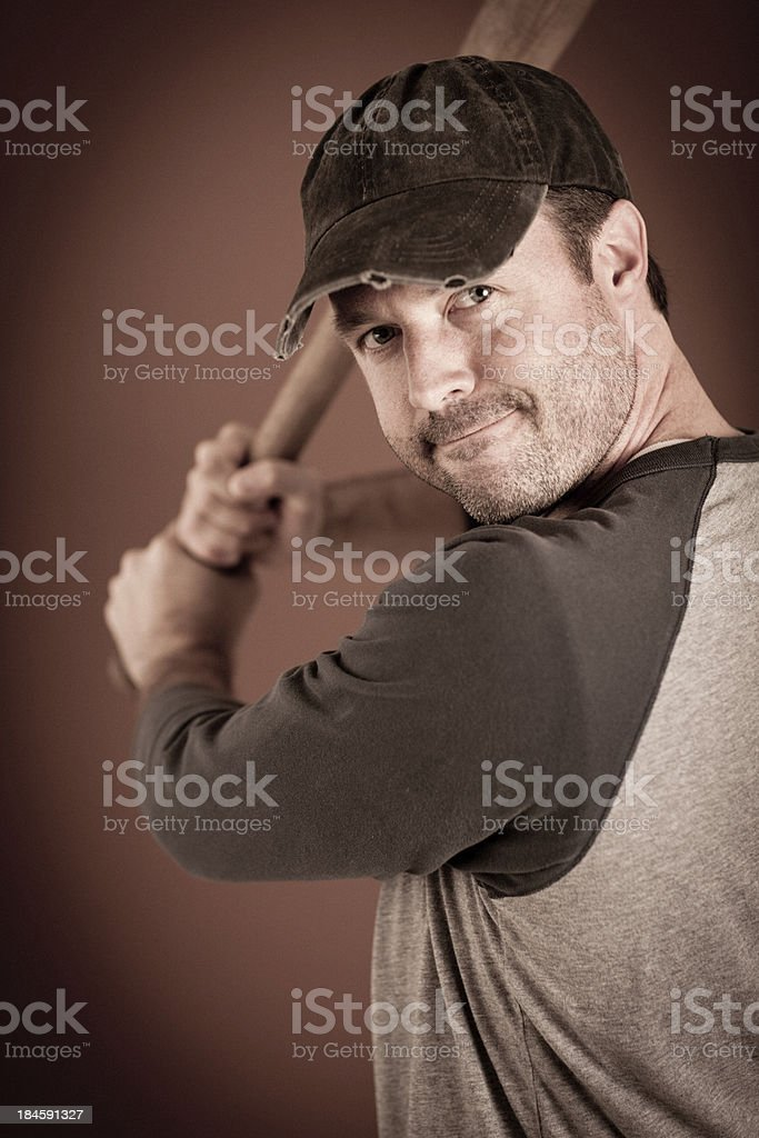 Vintage Baseball Player in Batting Stance with Bat royalty-free stock photo