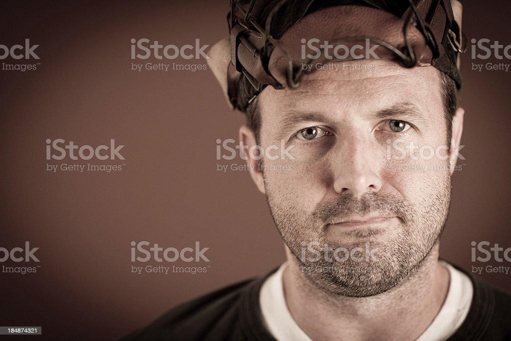 Vintage Baseball Player Wearing Pushed Up Catcher's Mask royalty-free stock photo