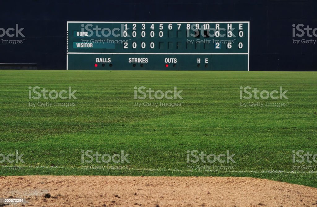 Vintage baseball scoreboard stock photo