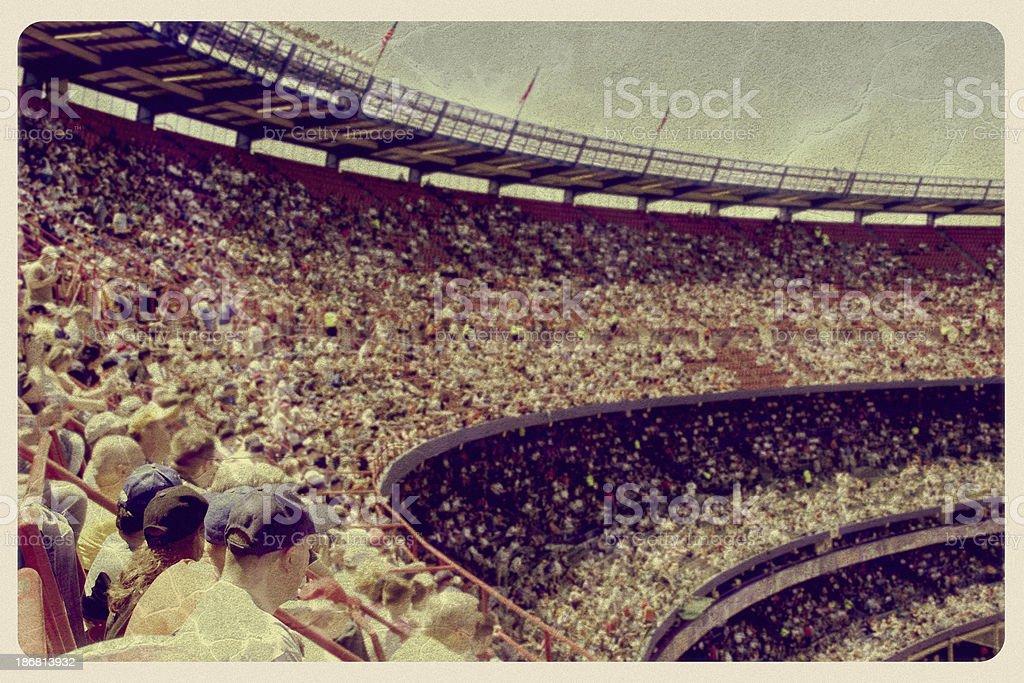 Vintage Baseball Stadium Postcard royalty-free stock photo