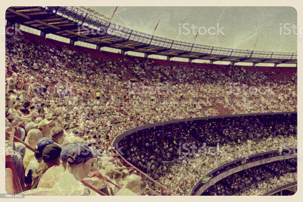 Vintage Baseball Stadium Postcard stock photo