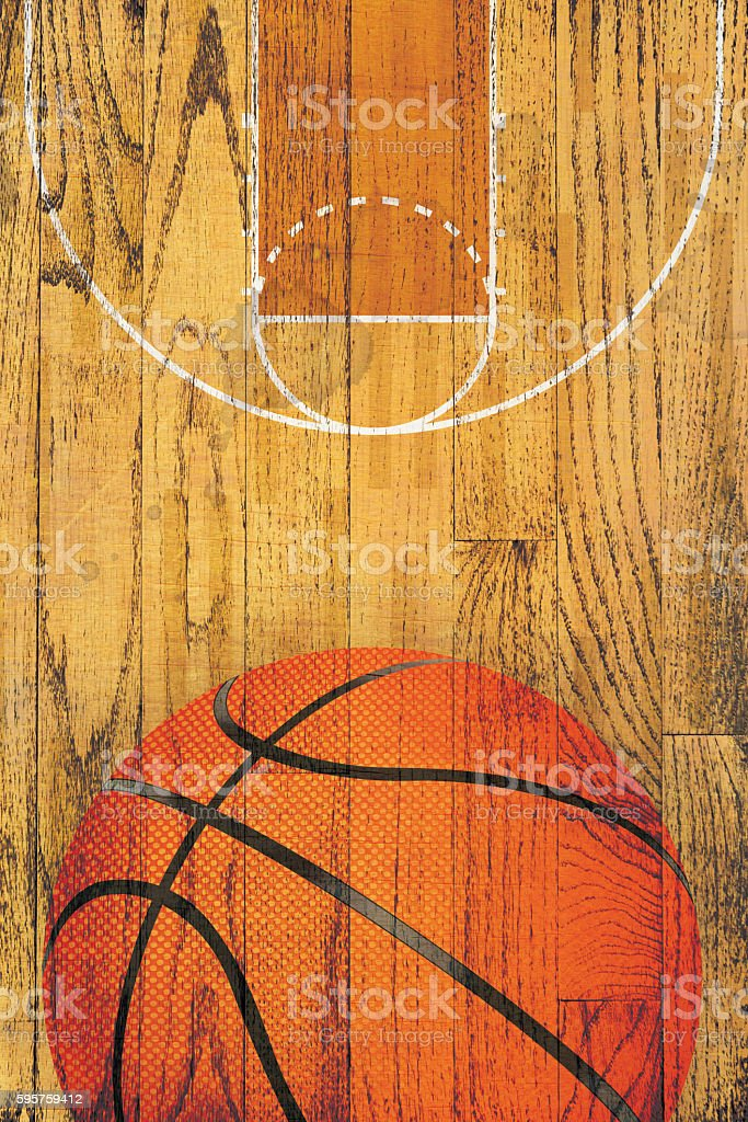 Vintage Basketball Hardwood Floor Background stock photo