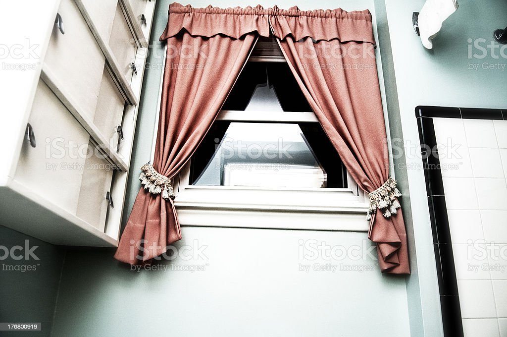 Vintage Bathroom Window and Cabinets royalty-free stock photo