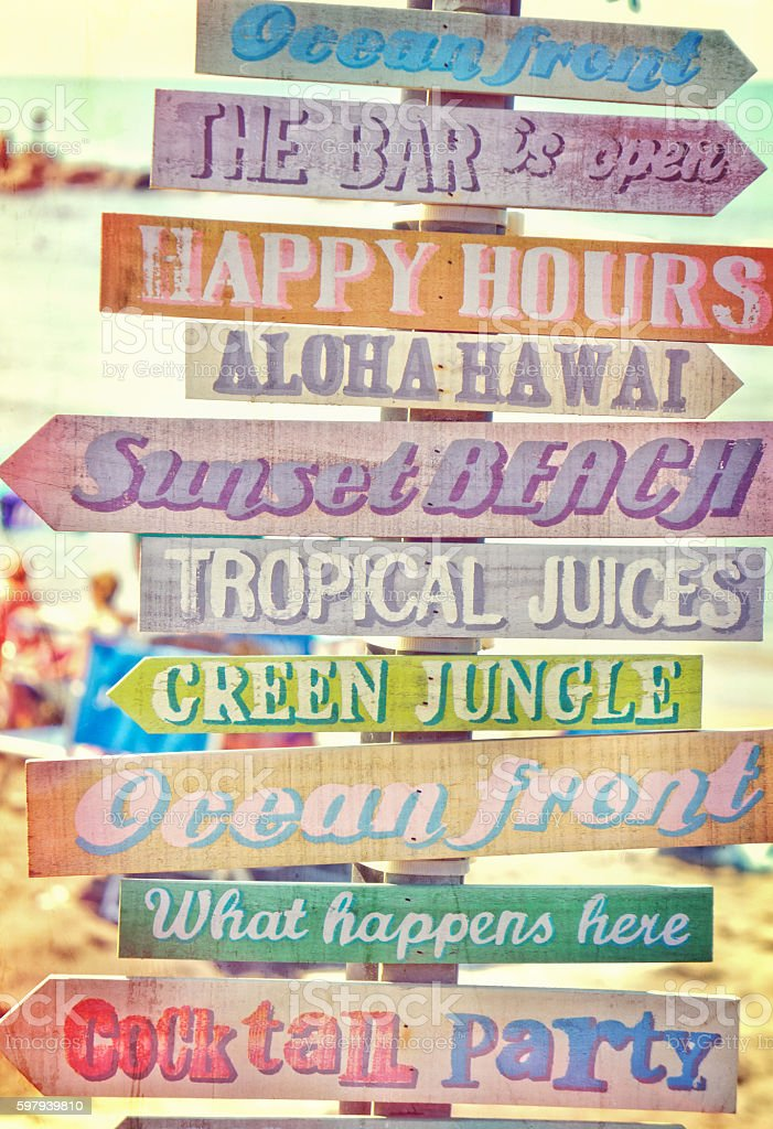 Vintage beach bar sign stock photo
