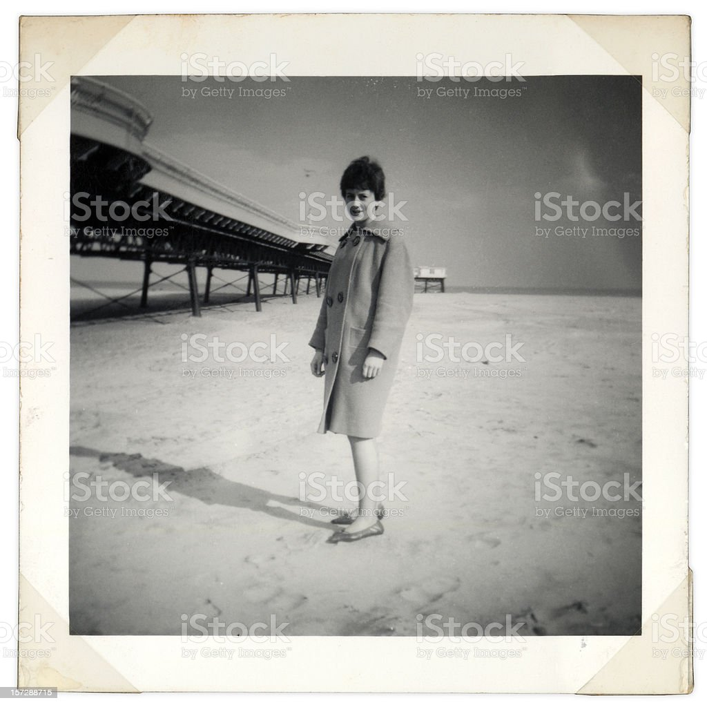 vintage beach shot stock photo
