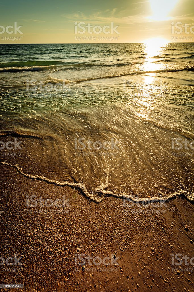 Vintage Beach Sunset stock photo