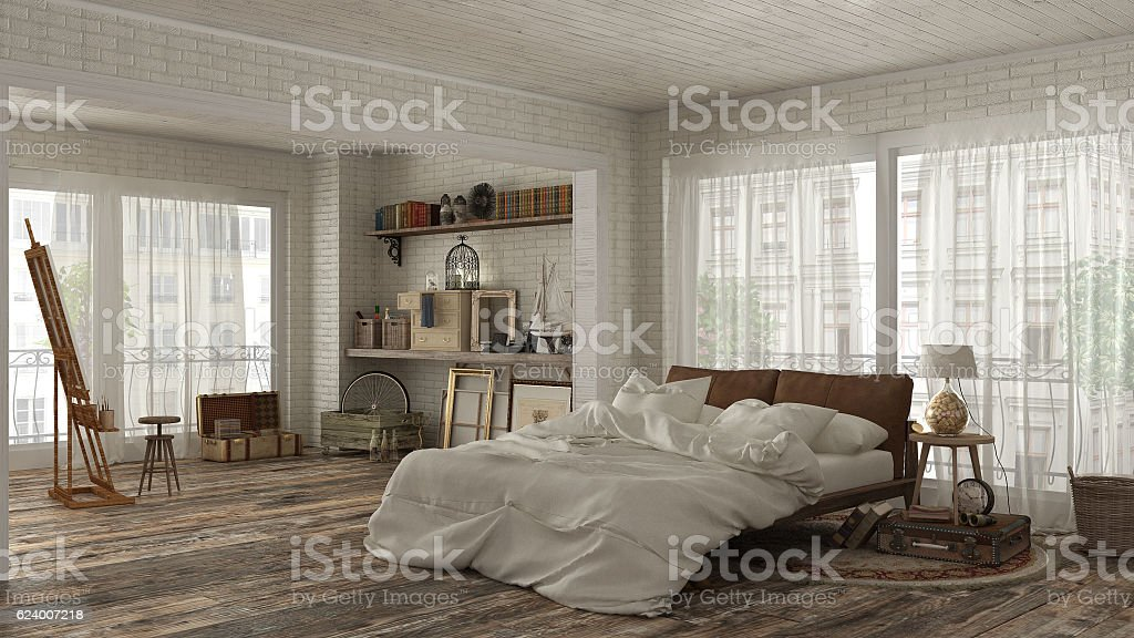 Vintage bedroom in bohemian style stock photo