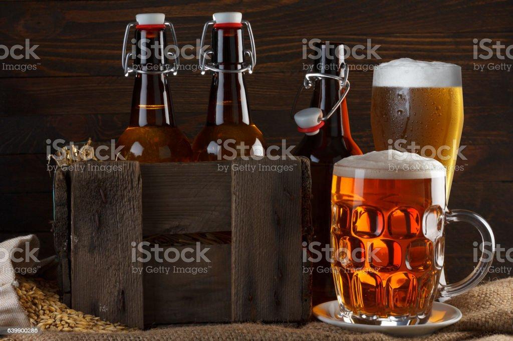 Vintage beer still-life stock photo