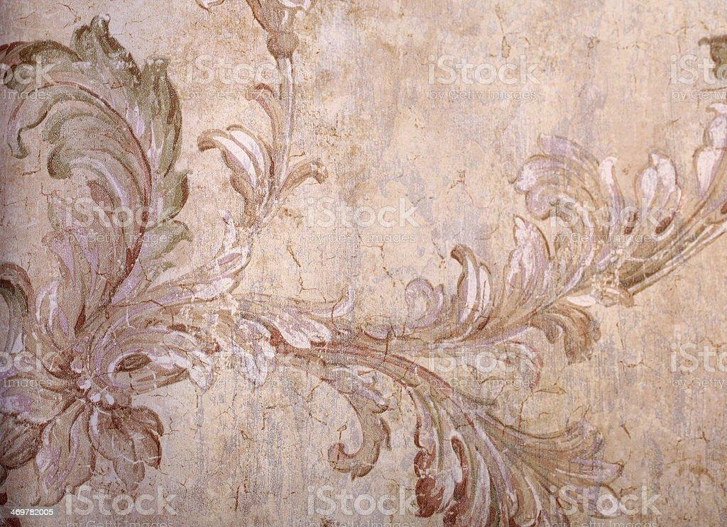 Vintage beige shabby wallpaper stock photo