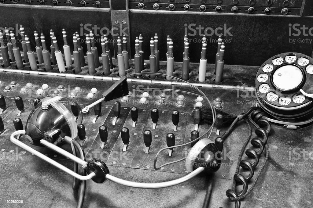 Vintage Bell System Telephone Switchboard IV stock photo