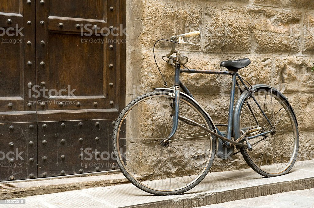 Vintage Bicycle against the Wall royalty-free stock photo