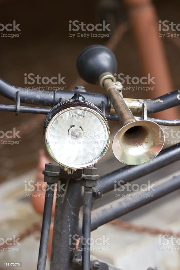 Vintage bicycle horn on handlebar. royalty-free stock photo
