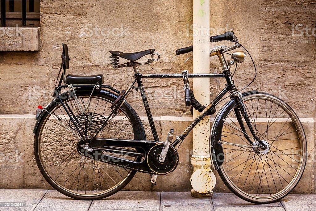 Vintage bicycle in Paris, France stock photo