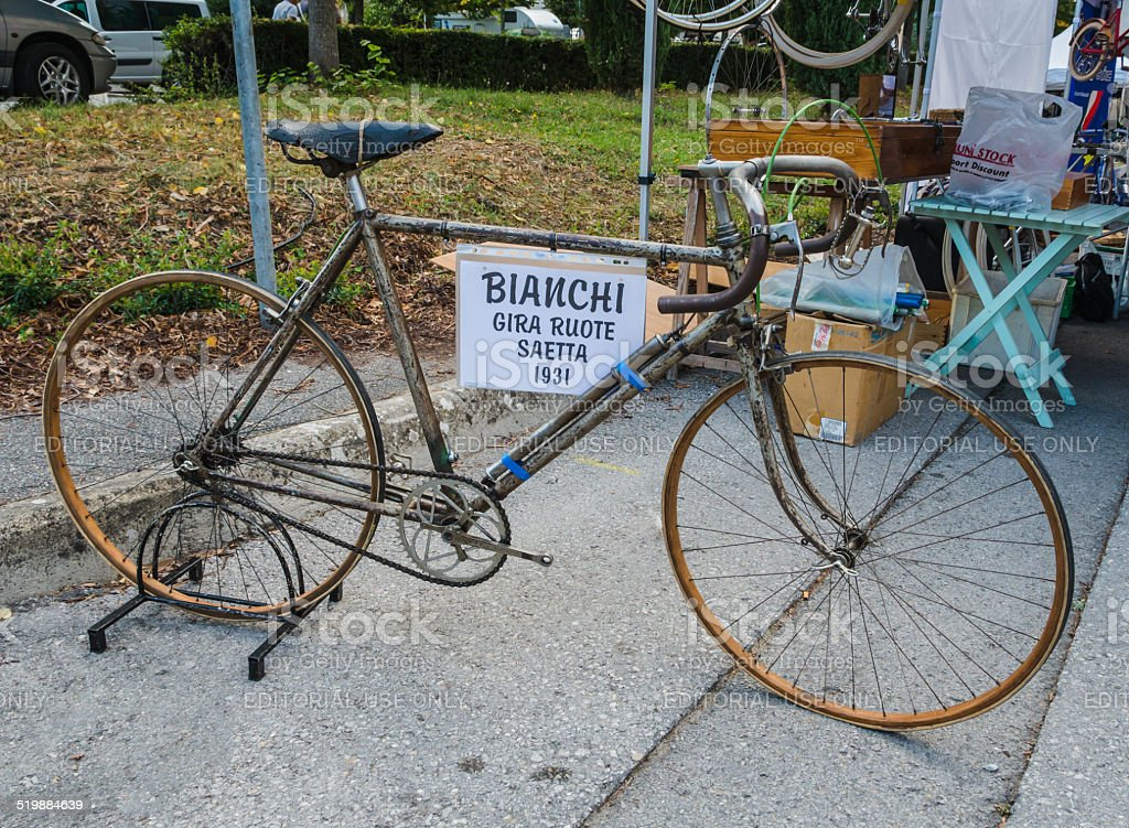 Vintage bicycle on display at L'Eroica, Italy stock photo